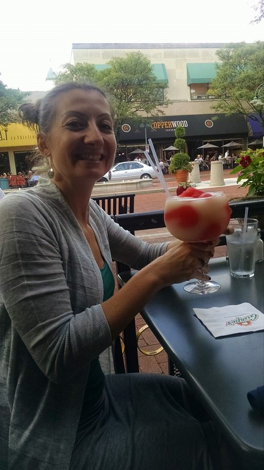 Celebrating with a giant margarita!