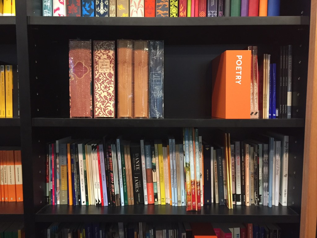 Poetry section in the bookstore inside the National Library of Australia
